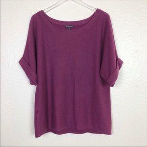 Eileen Fisher purple scoop neck cashmere blend top